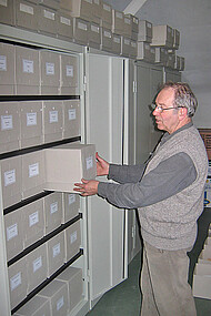 Steel cabinets in the fungus herbarium