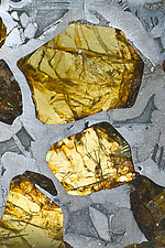 Pallasite – a stony-iron meteorite with olivine crystals (detail)